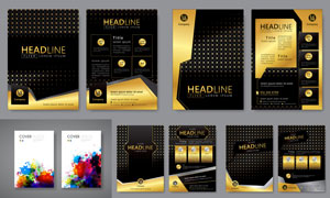 金色豪华风格的宣传单创意矢量素材