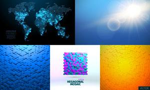 质感蜂窝状图案等背景创意矢量素材