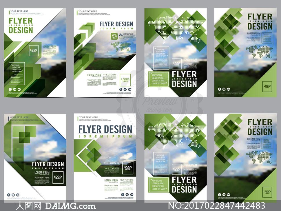 绿色几何元素宣传单页模板矢量素材