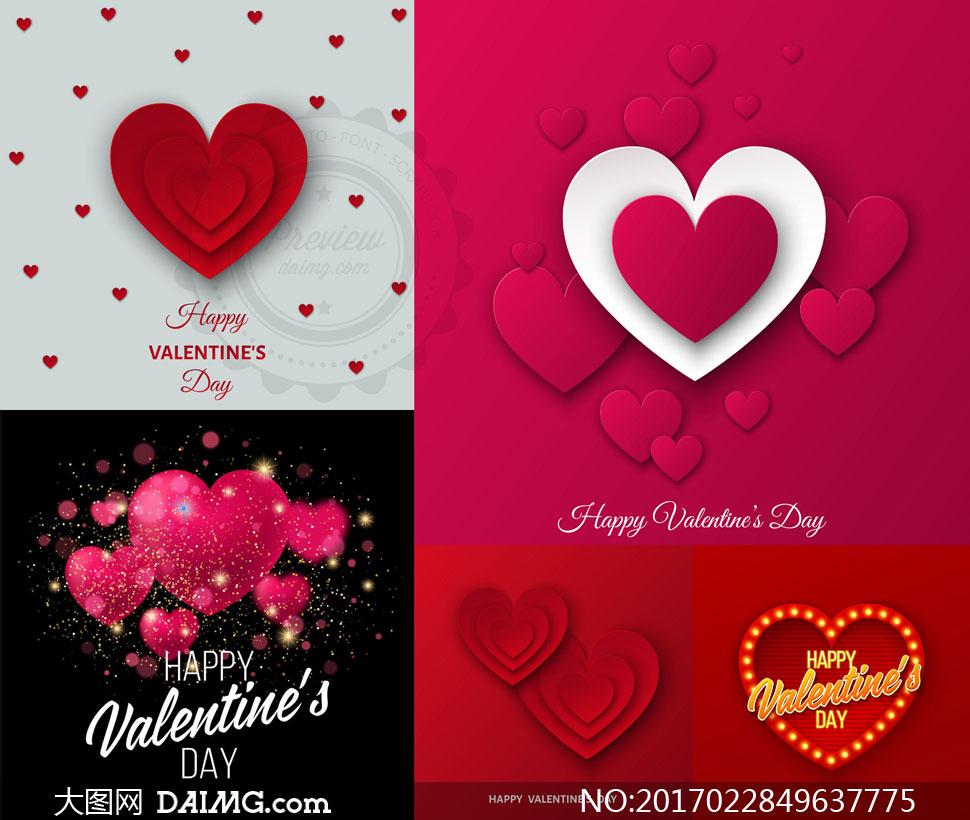 红色桃心图案等情人节创意矢量素材