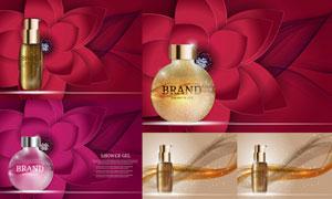 花朵线条装饰元素与香水等矢量素材