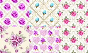 花纹图案与花朵元素背景矢量素材V1
