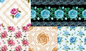 花纹图案与花朵元素背景矢量素材V3