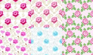 花纹图案与花朵元素背景矢量素材V5