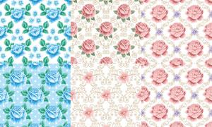 花纹图案与花朵元素背景矢量素材V6