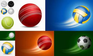 排球高尔夫等运动用球主题矢量素材