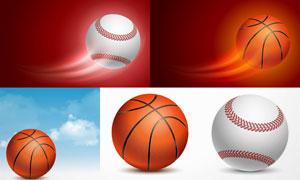 篮球棒球与蓝天白云等创意矢量素材