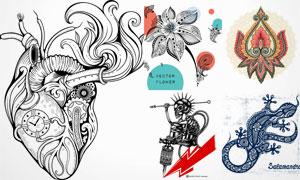 形态各异的纹身图案创意矢量素材V2
