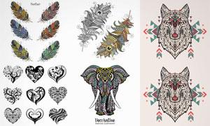 形态各异的纹身图案创意矢量素材V3