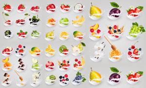 水果与飞溅的奶花创意设计矢量素材