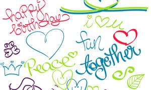 20款涂鸦心形和文字PS笔刷