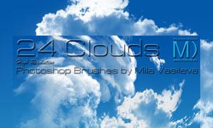 24款高清晰云彩和云朵PS笔刷