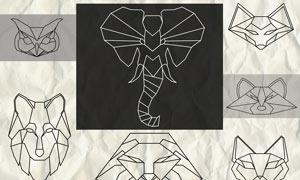 几何形状组成的动物图形PS笔刷