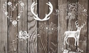 圣诞节装饰花纹和鹿角PS笔刷