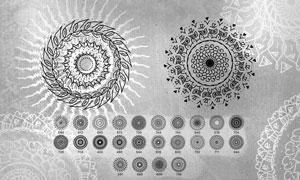 24款曼陀罗花朵装饰PS笔刷