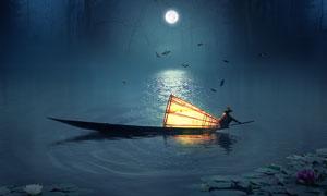 月色下在湖中停泊的渔船PS教程素材