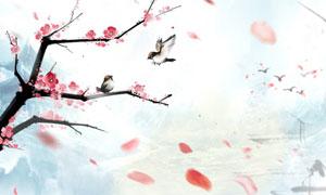 中国风玫瑰花中堂画设计矢量素材