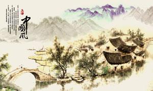 中国风山水画中堂画设计矢量素材