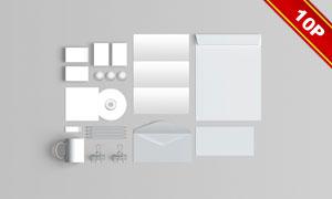 折页与名片等企业视觉贴图模板素材