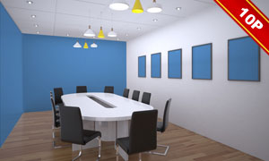 墙上装饰画与会议室布置贴图源文件