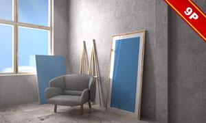 房间里摆放的无框画贴图模板源文件