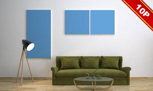 室内无框画与墙壁图案贴图模板素材