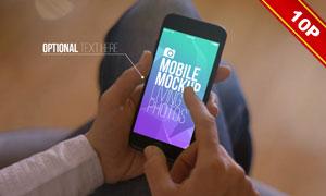 手中的智能手机屏幕内容效果图模板