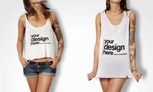 纹身女孩身上的背心贴图模板源文件