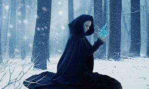 冬季森林中施法的魔法师PS教程素材