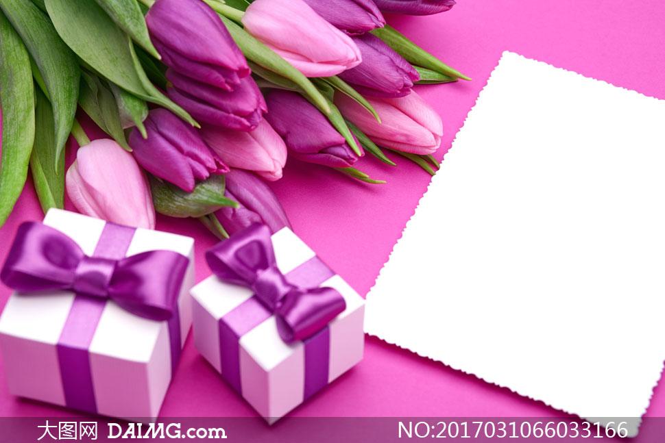 郁金香蝴蝶结礼物盒紫色卡片白色空白木纹木板桌面