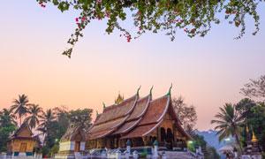 琅勃拉邦的香通寺景观摄影高清图片