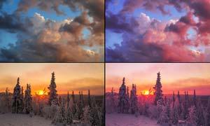 天空照片添加粉红色效果PS动作