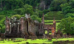 老挝占巴塞省的瓦普寺遗址高清图片