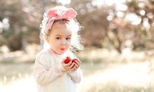 双手捧着草莓的小女孩摄影高清图片