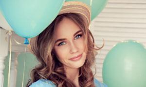 清凉夏装卷发美女人物摄影高清图片
