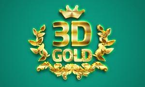 黄金质感的3D立体字设计PS动作