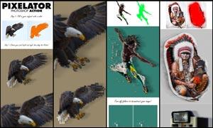大师级照片转像素格子特效PS动作