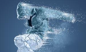 超酷的人像被冰冻动画特效PS动作