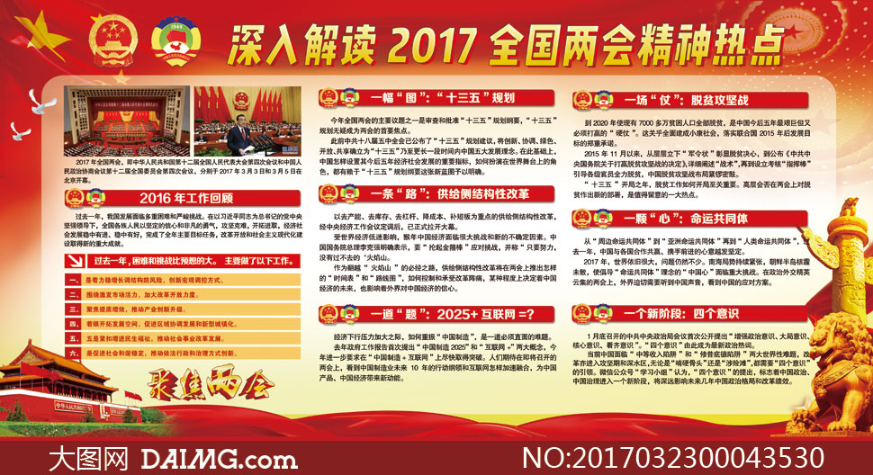 2017全国两会精神学习展板psd素材