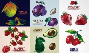 复古风格手绘效果水果创意矢量素材