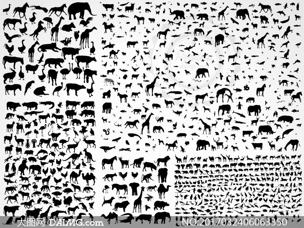 种类繁多的动物黑白剪影矢量素材v2