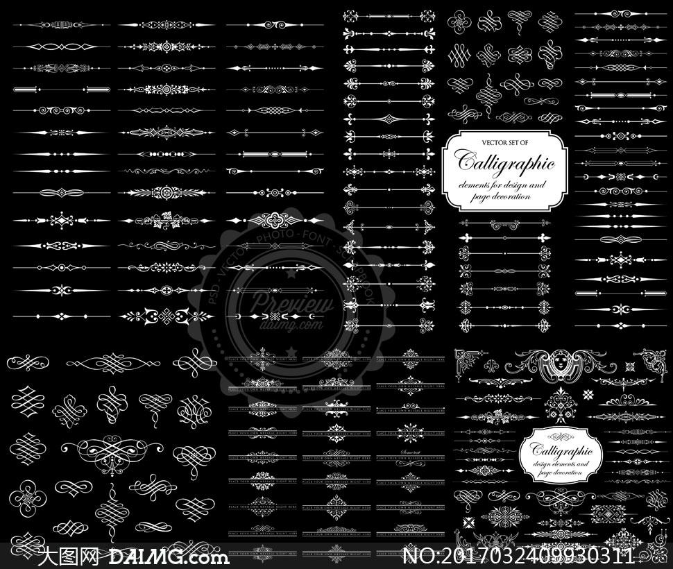 黑白花纹图案与分割线矢量素材集v1