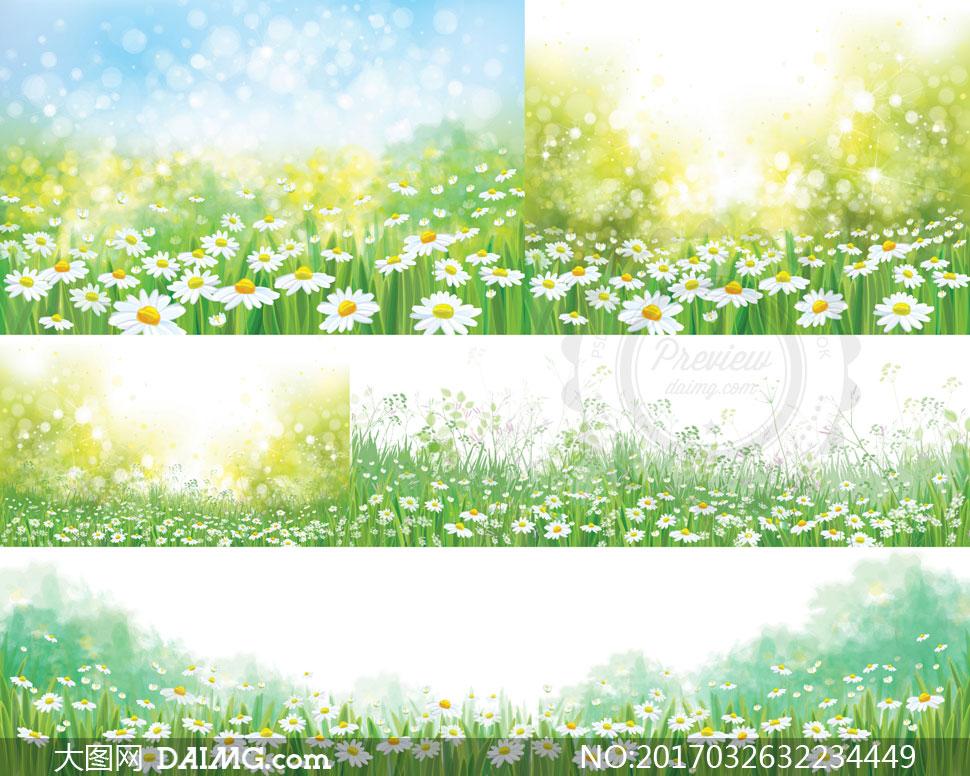 唯美光斑与花草丛自然风景矢量素材