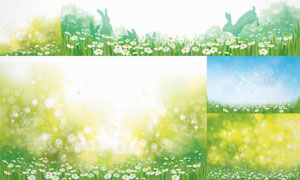 梦幻唯美星光与花草丛风景矢量素材