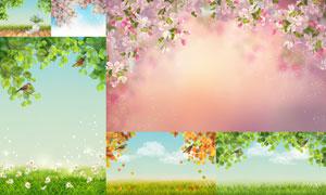 春天鲜花绿叶草丛自然风光矢量素材