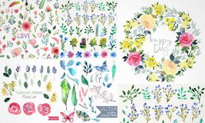 绿叶花朵与花卉边框等创意矢量素材