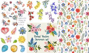水彩手绘花卉植物元素装饰矢量素材
