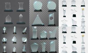 透明玻璃材质奖杯创意矢量素材集V1