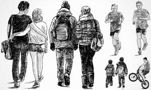 黑白手绘素描效果人物矢量素材V02