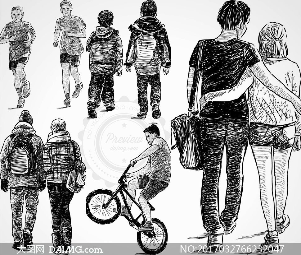 矢量人物背影黑白手绘素描速写背影背包包包休闲情侣恋人骑车跑步书包